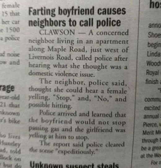 Police are calling from boyfriend farting