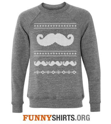Christmas Sweatshirt Mustache